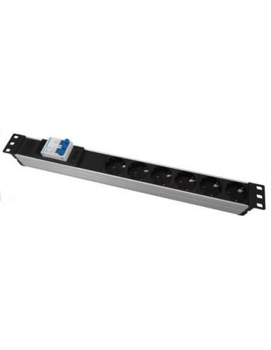 """Regleta rack 19"""" 1U, 6 tomas con magnetotérmico en aluminio."""