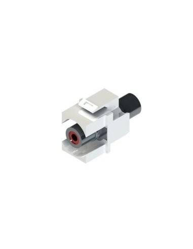 ADAPTADOR DE RCA ROJO HEMBRA-HEMBRA TIPO KEYSTONE 3,5mm MINI-JACK STEREO H/H