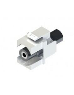 ADAPTADOR DE RCA BLANCO HEMBRA-HEMBRA TIPO KEYSTONE 3,5mm MINI-JACK STEREO H/H