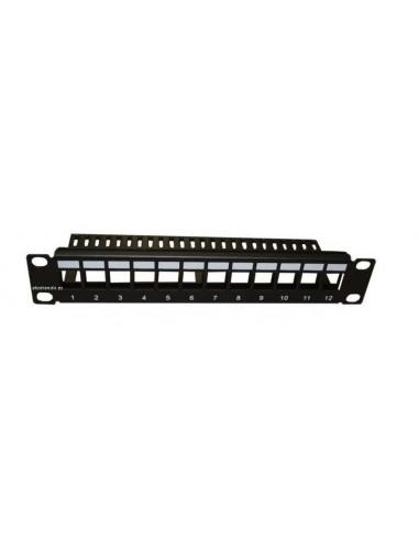 """PATCHPANEL 10"""" de 12 puertos vacio para conectores tipo KEYSTONE."""
