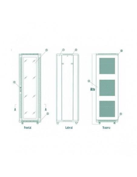 """Rack 19"""" 18U 600x800 mm. Con puerta de cristal y cerradura."""