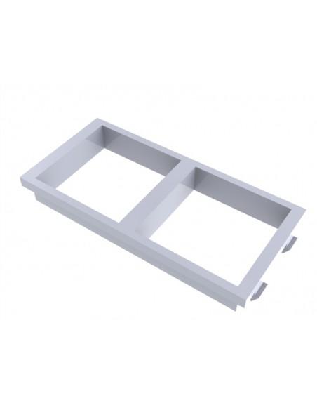 Placa doble 2 huecos de 45x45 blanca