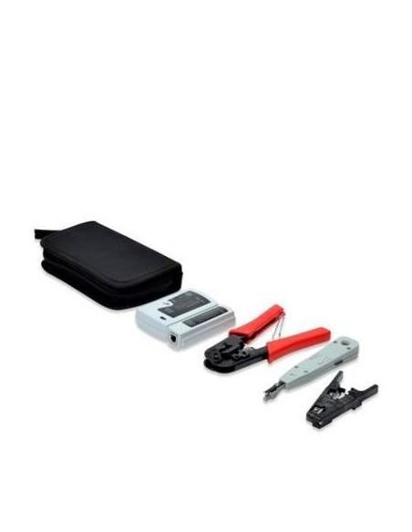 Maletín con testeador de cable de red para RJ45, RJ11, RJ12, herramienta de crimpar, pela cables y herramienta de impacto krone.