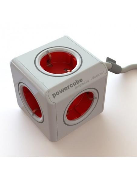 PowerCube rojo. Alargadera 1.5 m. + 4 conexiones a 230V