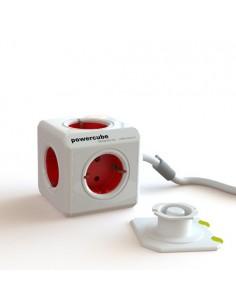PowerCube rojo. Alargadera 1.5 m. + 4 conexiones a 230V con base adhesiva