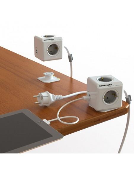 PowerCube gris. Alargadera 1.5 m. + 3 conexiones + 2 USB