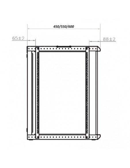 "Rack Mural 19"" 18U F450. Puerta Cristal. Sin accesorios."
