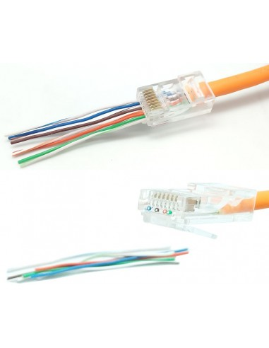 Conector RJ45 CAT6 UTP cable rígido pasante