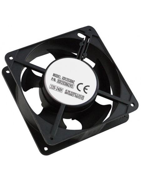 """Ventilador de techo adicional para Rack 19"""" de 119x119x38 mm. Inluye rejilla y cable de alimentación."""
