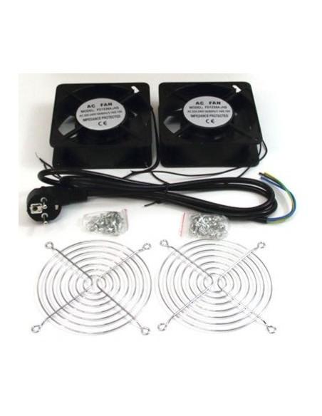 Kit 2 Ventiladores 220V 119x119x38mm + cable + rejilla