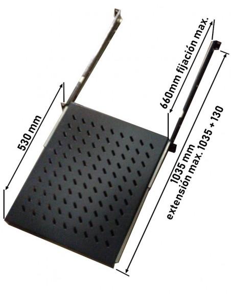 Bandeja telescópica 1U  f-800, dimensiones de fijación