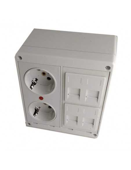 Caja de pared kit 2 schuko 2 RJ45 barata no incluye conectores keystone