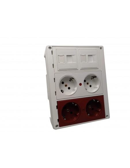 Caja de pared kit 2 schukos dobles montada economica y 2 RJ45