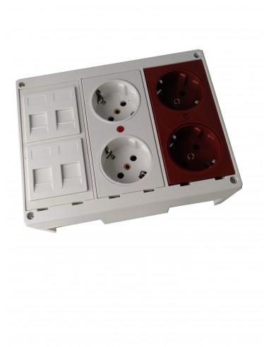 Caja de pared kit 1 schuko dobles, 1 schuko doble para SAI y 4 RJ45