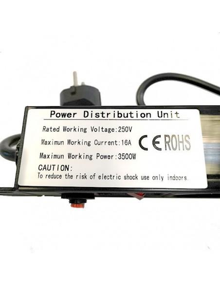 """Regleta 19"""" 1U 8 Tomas Rj45 con Protección + Interruptor. PVC"""