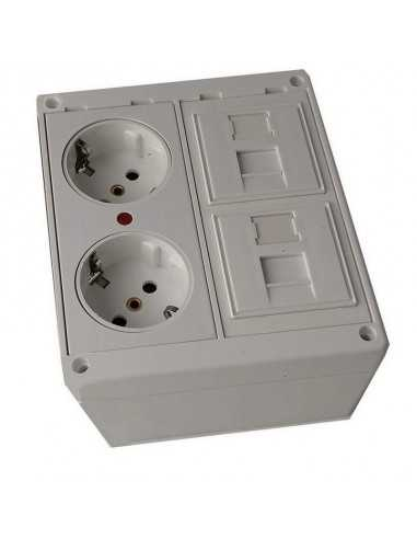 Caja de pared kit 2 schuko 2 RJ45