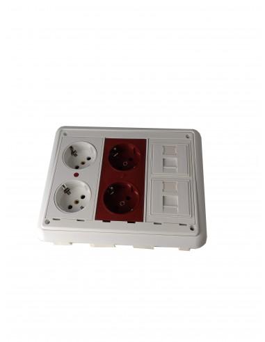 Caja de Pared para Empotrar en kit 4 schukos y 2 RJ45
