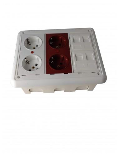 Caja de pared  empotrar en kit 4 schukos y 4 RJ45