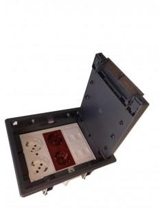 Caja de suelo kit 4 schukos y 4 RJ45