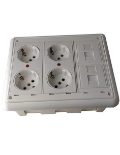 Caja de pared kit 4 schukos y 2 RJ45