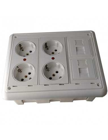 Caja de pared kit 4 schukos y 2 RJ45