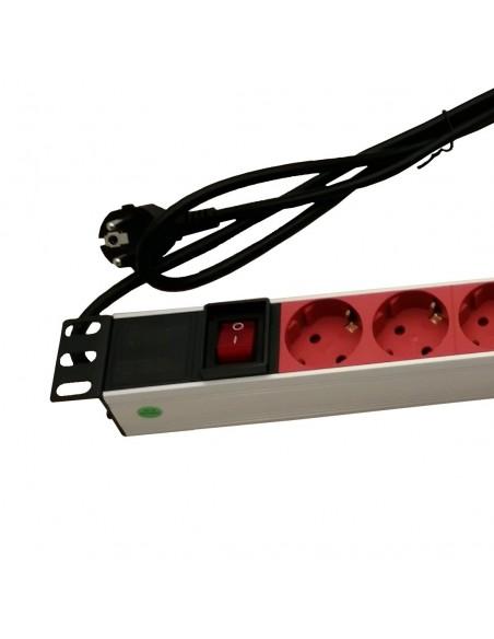 Regleta Rack 1U 8 Tomas Color ROJO Con interruptor ALUMINIO