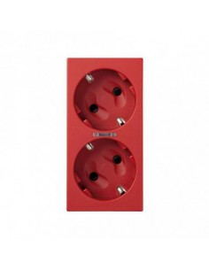 Base de enchufe schuko doble rojo 16 A 250V