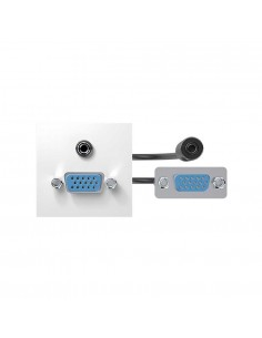 Conectores VGA + mini-jack hembra-hembra con latiguillos y placa incorporada blanco Simon 400