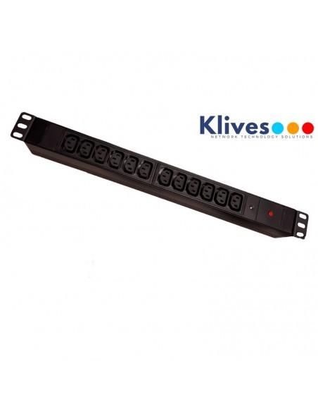 """REGLETA 19"""" 1U 12 TOMAS IEC C13 + LED + sobre tensiones de aluminio negro"""