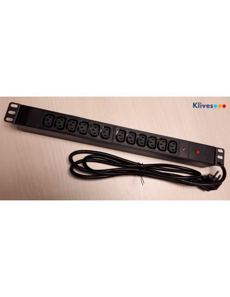 """REGLETA 19"""" 1U 12 IEC C13 + LED + protección sobre tensiones"""