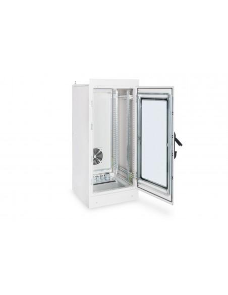 """Rack 19"""" industrial, interior, IP55 con puerta de cristal de 24u"""