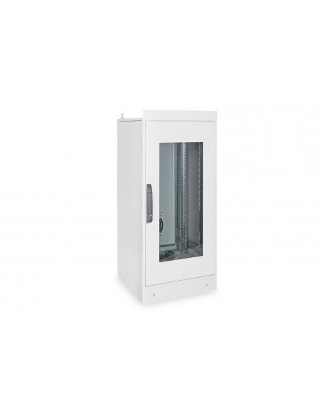 """Rack 19"""" industrial, interior, IP55 con puerta de cristal."""