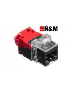 Conector RJ45 Hembra CAT6A , color Rojo/Negro R&M