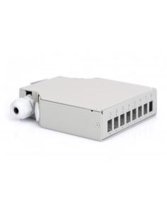 Caja fibra óptica carril DIN, 8 puertos LC duplex / 8 SC simples