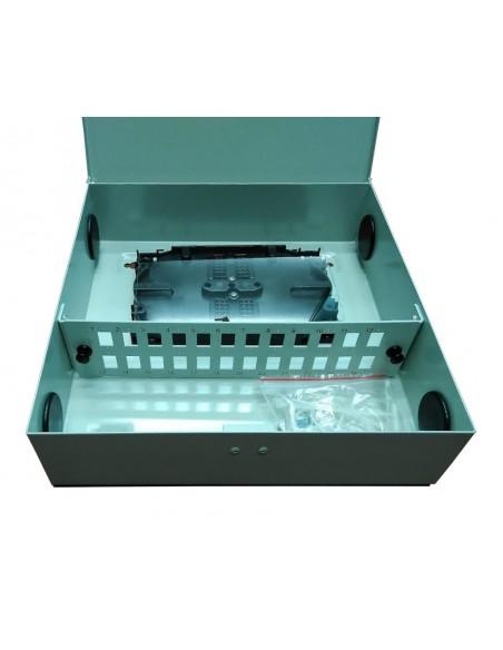 ARMARIO MURAL FO FTTH Caja metálica de fibra óptica FTTH para conectores SC. Vista caja abierta.