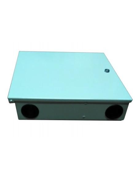 Caja metálica de fibra óptica FTTH para conectores SC. Entrada de los cables.
