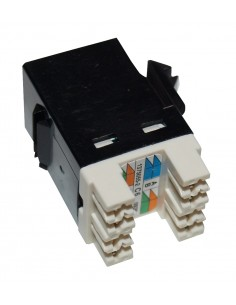 Conector RJ45 Hembra CAT6 , color negro a 180º