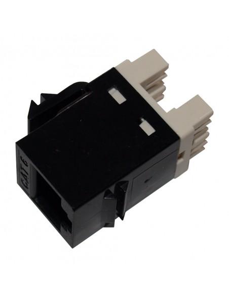 Conector RJ45 Hembra CAT6 , color negro a 180º