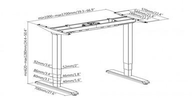 Marco de mesa ajustable eléctricamente en altura